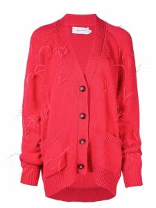 Marques'Almeida feathers oversized cardigan - Red