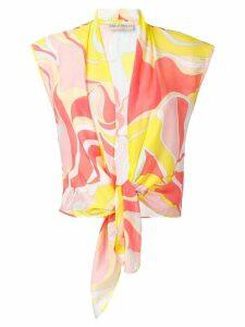 Emilio Pucci Mirabilis Print Tie Front Top - Yellow