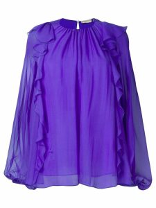 Emilio Pucci Ruffled Long-Sleeve Silk Top - PURPLE