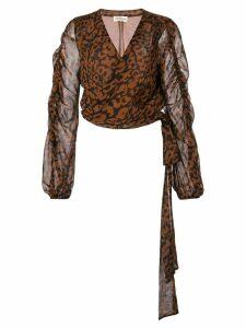 Nicholas leopard print wrap blouse - Black
