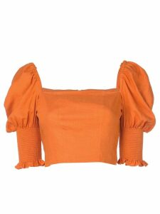 Nicholas cropped Juliet sleeves top - ORANGE