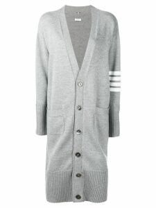 Thom Browne striped sleeve long cardigan - Grey