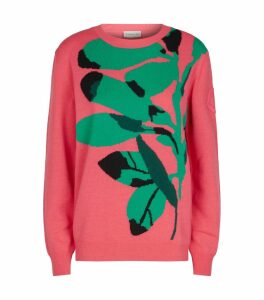 Wool-Cashmere Tropical Print Sweater