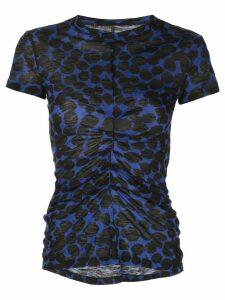 Proenza Schouler Painted Dot Cinched Short Sleeve T-Shirt - Blue