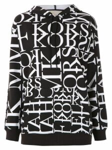 Michael Michael Kors Newsprint logo-print hoodie - Black