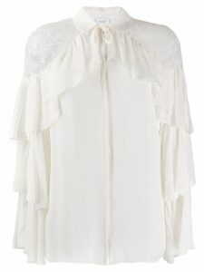 Giambattista Valli ruffle trim blouse - Neutrals