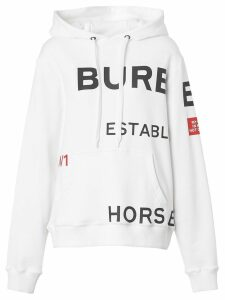 Burberry Horseferry Print Cotton Oversized Hoodie - White