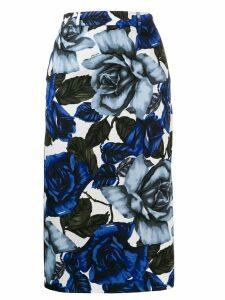 Prada rose print pencil skirt - Blue