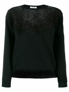 Valentino floral lace detailed jumper - Black