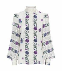 Lace-Panelled Floral Blouse