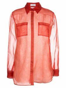 Salvatore Ferragamo sheer long sleeve shirt - Orange