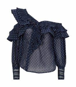 Dotted Asymmetric Blouse