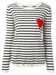 Chinti & Parker cashmere Breton stripe heart jumper - White