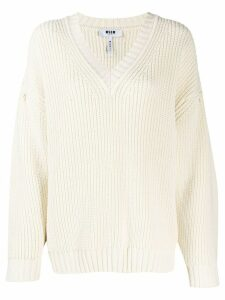 MSGM knitted v-neck jumper - NEUTRALS