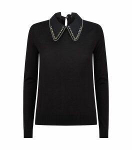 Crystal-Embellished Collar Sweater