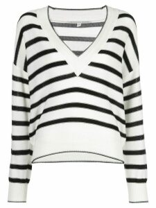 Veronica Beard striped V-neck knit top - Black