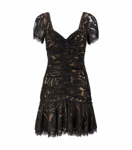 Metallic Lace Ruffle Mini Dress