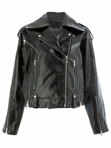 Rokh double-breasted biker jacket - Black