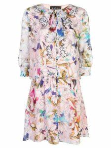 Nicole Miller floral print shirt dress - PINK