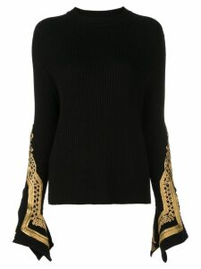 Oscar de la Renta embroidered cuffs jumper - Black