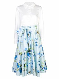Badgley Mischka floral ruffled midi skirt - White