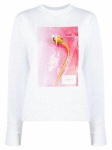 Calvin Klein printed crew neck sweatshirt - White