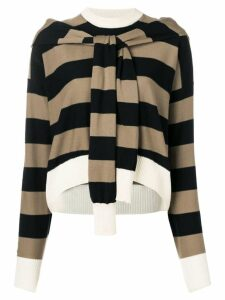 Sonia Rykiel cropped striped jumper - Brown