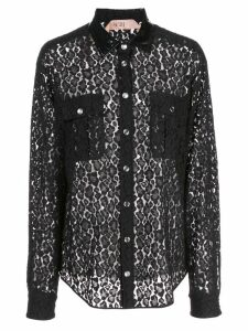 Nº21 lace button-up shirt - Black