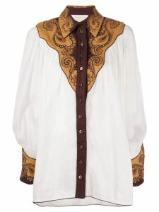 Zimmermann embroidered long-sleeve shirt - White
