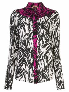 Nº21 zebra print panelled button-up shirt - Black