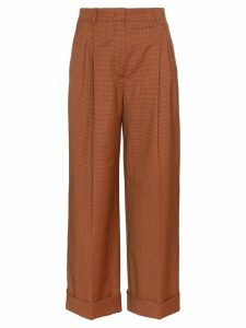 Fendi micro-houndstooth cropped trousers - Brown