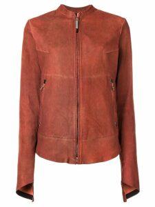 Isaac Sellam Experience rear zip detail leather jacket - ORANGE