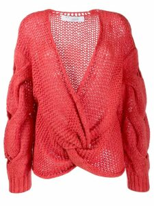 IRO chunky knit knot jumper - PINK
