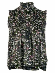 GANNI floral print pleated blouse - Black