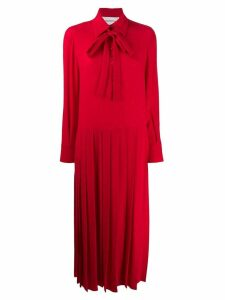 Valentino Pleated technical poplin dress - Red