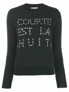 Saint Laurent French slogan intarsia sweater - Black