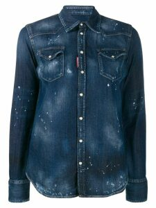Dsquared2 bleach splattered denim shirt - Blue