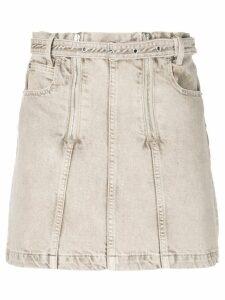 Proenza Schouler White Label PSWL Zip Rigid Denim Skirt - Brown