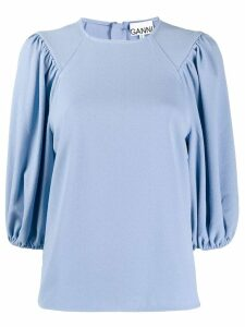 Ganni three quarter length sleeve blouse - Blue