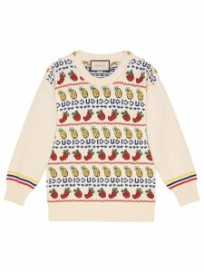 Gucci pineapple and strawberry knit top - White