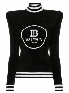 Balmain padded-shoulder logo intarsia jumper - Black