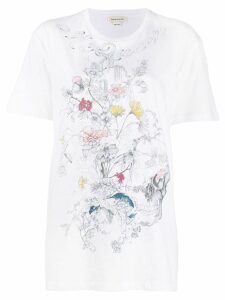 Alexander McQueen printed skull and flowers T-shirt - White