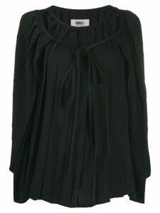 Mm6 Maison Margiela pleated cape blouse - Black