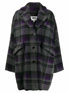 Mm6 Maison Margiela checked coat - Grey