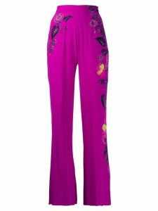 Etro high-waisted floral wide leg trousers - Purple