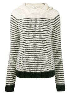 Saint Laurent hooded stripe sweater - White