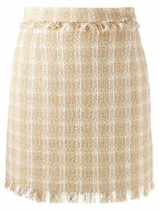 MSGM fringed check skirt - NEUTRALS