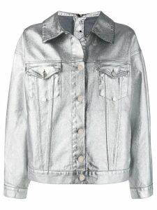 MSGM metallic denim jacket - SILVER