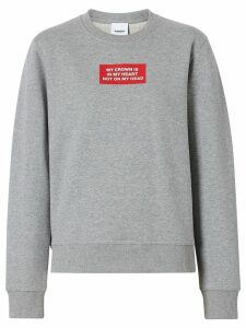 Burberry Quote Print Cotton Sweatshirt - Grey