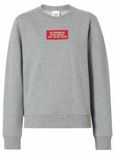 Burberry Quote Print Cotton Sweatshirt - Grey